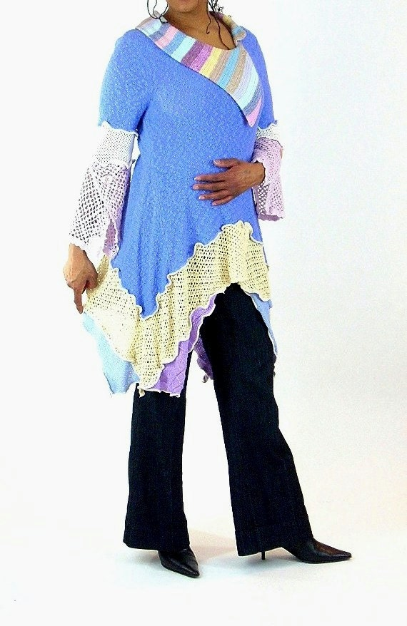 SALE/ CLEARANCE Periwinkle and Pastel Multicolored Tunic, Knit  and Crochet, Size Medium- Large (12-14)