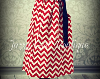 Girls Fourth of July Boutique Pillowcase Dress Red and White Chevron with Large Royal Blue Ribbon Bow over one Shoulder