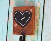 Barn Lumber Heart Chalk Hook