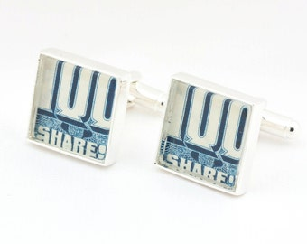 Authentic Vintage Blue Stock Certificate Cufflinks With Cuff LInks Box