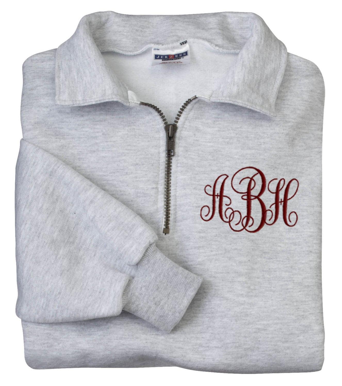 monogrammed sweatshirt quarter zip pullover embroidered