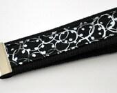 Two Toned Gray Wreath Like Fabric on Black Heavy Duty Cotton Webbing