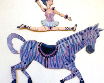 DIY Circus Zebra & Cute Ballerina Printable PDF Paper Puppet Doll Set for Paper Play, Kids Party, Fun
