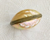 Antique Victorian Irridescent Shell Trinket Box  or Etui Case - Early 20th Cent