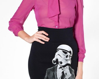 Women's fashion skirt, Smart Trooper star wars print, ladies pencil skirt, funny fashion, gift for girlfriend, skirt for wife, gift for her