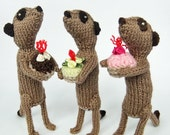 Knitted Meerkat with iced cake, celebration, birthday, congratulations