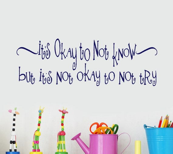 educational wall decal words decor quote its okay to not