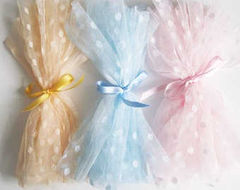 polka dot tulle fabric sample - peach/cornflower OR pastel pink