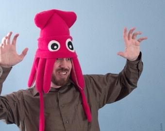 Medium Fleece Squid Hat - Hot Pink