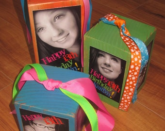 Personalized Photo Block CENTERPIECES- Set of 3 Photo CUBES in Neon colors- Birthday Party GIFT or Party Decor- attach balloons