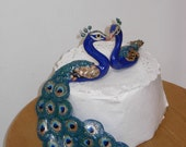Indian style Peacock with Swirling Tail and Peahen - Custom Order Cake Topper