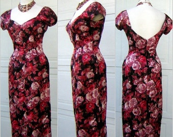 Wiggle Cocktail Dress Vintage 60s MICHAEL NOVARESE Couture Silk Rose Party Print - S to M