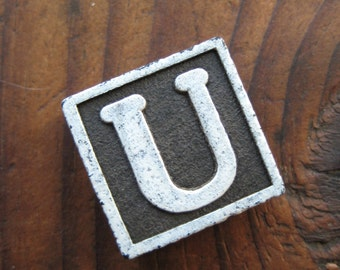 Vintage Wood Anagram Game Piece, U game piece, Vintage U initial, Black and White, gifts for him, gifts for her, Gifts under 5