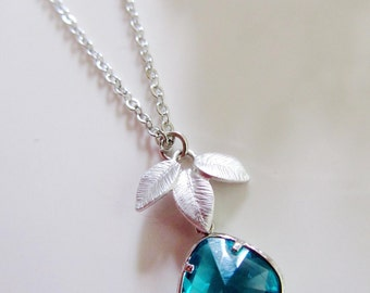 Orchid Flower Teal Necklace, Silver Orchid, Teal GlassTeardrop, Teal Wedding, Bridesmaid Necklace, Gardendiva