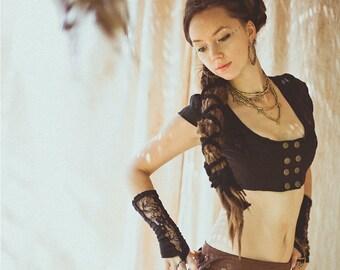 AMBER LINEN VEST  - Tribal Burlesque Cabaret Hippie Boho Bohemian Belly dance top Burning man - Black