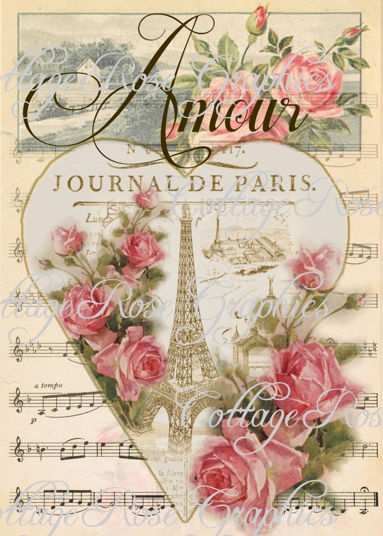 Paris Amour Vintage Valentine Large Digital By
