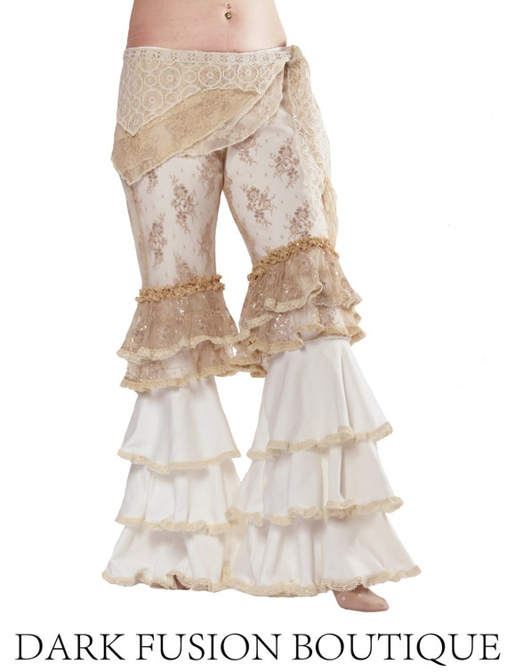 Pants, Capris, and Wrap SET, Stretch Cotton, Lace, Nouveau, Dance, Ruffles, Steampunk,Tribal, Bellydance, Dark Fusion Boutique