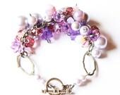 Jasmine Purple Ombre Glass Beaded Ornate Pearl Cuff Bracelet with Swarovski Crystals