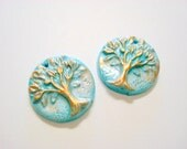 Turquoise and Bronze Trees of Life Polymer Clay Focal Beads