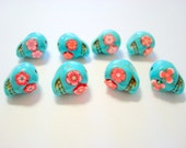 Turquoise and Red Howlite Sugar Skull Beads-Collection of 8 12mm beads