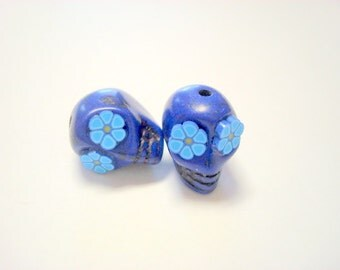 Blue Flower Eyes in Small Day of The Dead Sugar Skull Beads-12mm