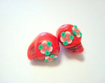 Red Rose Eyes in Small  Day of The Dead Sugar Skull Beads-12mm