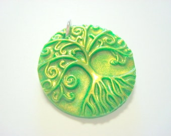 Green Interference Gold Yggdrasil Tree of Life Handmade Polymer Clay Pendant or Focal Bead