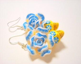 Sugar Skull Earrings Blue Yellow Day of the Dead Rose Skull Jewelry