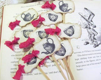 Alice Vintage Teapot Tea Party Cupcake Toppers w/ribbons - Set of 18 - Choose Ribbon Color - Bridal Shower Unbirthday Mad Tea Party