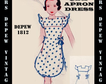 Vintage Sewing Pattern 1930's Girls' Apron Dress Any Size Depew 1812 Draft at Home Pattern -INSTANT DOWNLOAD-