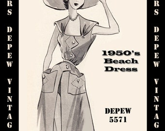 Vintage Sewing Pattern 1950's Beach Dress Cover Up in Any Size - PLUS Size Included - Depew 5571 -INSTANT DOWNLOAD-