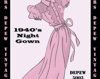 Vintage Sewing Pattern 1940's Night Gown in Any Size - PLUS Size Included - Depew 5003 -INSTANT DOWNLOAD-