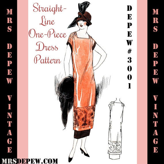 Vintage Sewing Pattern Instructions 1920's Flapper Easy One Piece Dress Ebook Depew 3001 -INSTANT DOWNLOAD-