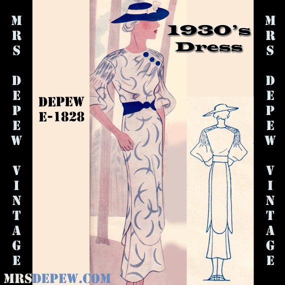 1930s Fashion Colors & Fabric 1930s Dress Tunic Skirt Any Size- Plus Size Included- Depew E-1828 Draft at Home Pattern -INSTANT DOWNLOAD- $8.50 AT vintagedancer.com