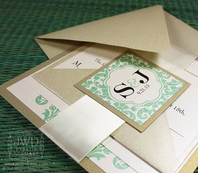 elegant wedding invitation light gold mint green wedding invitation