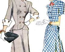 1940s Dress Pattern Simplicity 1866 Two Piece Dress Princess Seam Peplum Top Gored Skirt Womens Suit Womens Vintage Sewing Pattern Bust 32