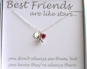 Best Friend Gift • Star & Birthstone with Initial Tag • Star Charm • Personalized Jewelry • Lucky Star • BFF Necklace