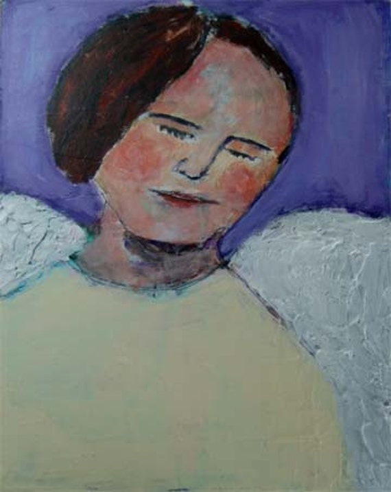 Acrylic Mixed Media Portrait Painting - Angel with Wings, purple, yellow, white