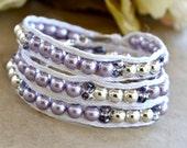 Purple Pearl Wrap Bracelet