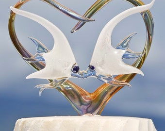 Custom Glass Heart Wedding Cake Topper With Orchids