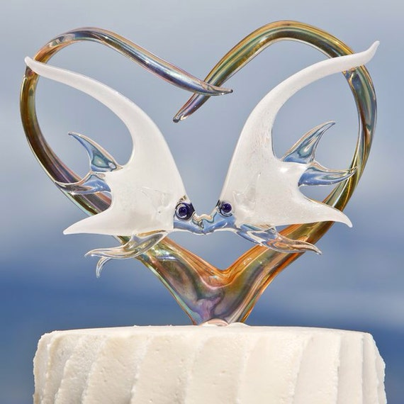 personalized glass wedding cake toppers custom glass wedding cake topper with angelfish 18263