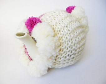Handmade knitted pink and cream Pom Pom Tea Cosy, knitted tea cozy, hostess gift, housewarming gift, knitting tea cosies, the tea cozy