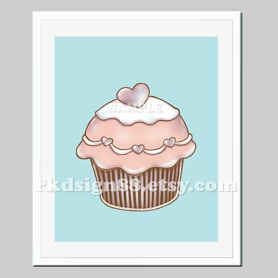 Items similar to cupcake art prints nursery art kids for Cupcake wall art