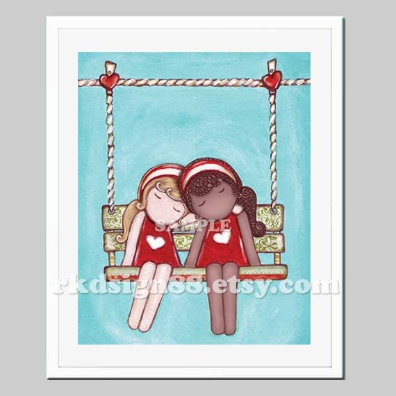 Adoption art print, nursery decor, kids wall art, art for girl room decor, bridesmaid gift, best friends, swing, blonde, African, Day Dream