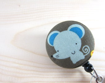 Retractable Badge Holder / ID Badge Reel (Clip-on) - Cute Mouse