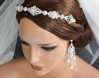 Wedding Headband Bridal Headband Tiara Swarovski Crystal Wedding Hair Accessories Silver Art Deco Tiara CARA