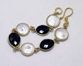 Pearl Bracelet Black Spinel Bracelet June Birthstone Bracelet Stone Chain Bracelet Genuine Pearl Bracelet Black & White Jewelry Real Pearl