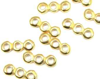 Large Hole Beads Nugget Heishi 3 Hole Bar Multistrand Spacer Bright Gold Beads TierraCast Leather Findings Collection (PS402)