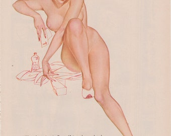93#  Rare 50's  Vintage Vargas Pin Up Girl Playboy Picture  Hollywood Regency Nurse