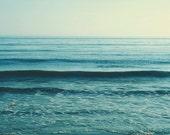 sale 25% off beach photography, seascape, mint blue water, ocean wave photograph, serene, calming, cerulean, nursery decor, yoga studio art,